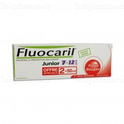 Dentifrice Junior 7-12 ans goût fruits rouges - Lot de 2 x 50 ml