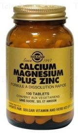 SOLGAR CALCIUM/MG/ZN 100CP