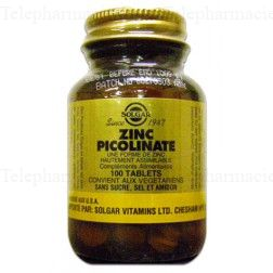 SOLGAR ZINC PICOLINATE 100 TABLETS